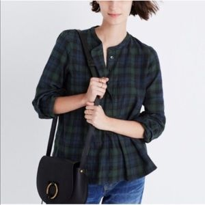 Madewell Plaid Ruffle Cropped Button down Top